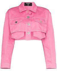 Balmain Укороченная Джинсовая Куртка - Розовый