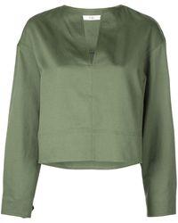 Tibi Укороченная Блузка С Разрезом На Воротнике - Зеленый