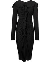 Burberry ラッフル シルクドレス - ブラック