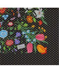 Gucci Zijden Sjaal Met Flora Star Print - Zwart