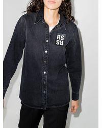 Raf Simons ロゴパッチ デニムシャツ - ブラック