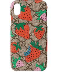 Gucci Funda GG Supreme Strawberry para iPhone XR - Multicolor