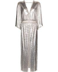 Paco Rabanne Chainmail V-neck Split Dress - Metallic