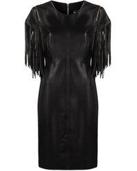 Boutique Moschino Платье Миди С Бахромой - Черный