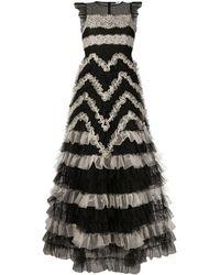 RED Valentino Maxi-jurk Met Tulen Vlakken - Zwart