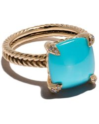 David Yurman Bague en or 18ct, diamants et turquoise Châtelaine - Bleu