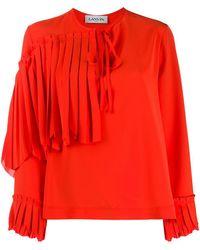 Lanvin Ruffle Front Blouse - Orange