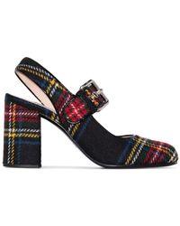 Miu Miu 80mm Checked Mary Jane Court Shoes - Black