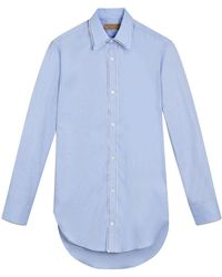 Burberry - Embroidered Trim Cotton Oxford Shirt - Lyst