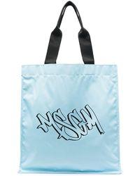 MSGM Logo-print Tote Bag - Blue