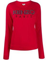 KENZO Sweatshirt mit Logo-Stickerei - Rot