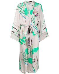 BERNADETTE Kimono Jurk Met Bloemenprint - Grijs