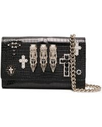 Philipp Plein Baroque Knuckle Duster Leather Clutch Bag - Black