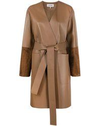 Loewe Двухцветное Пальто С Поясом - Коричневый