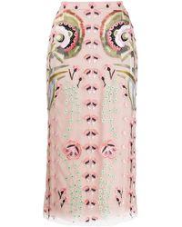 Temperley London フローラル スカート - ピンク