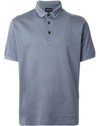 Giorgio Armani Logo Embroidered Polo Shirt - Grey