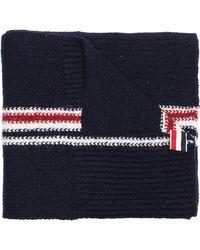 Thom Browne - Navy Wool Striped Scarf - Lyst
