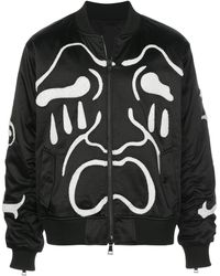 Haculla Scream Embroidered Bomber Jacket - Black