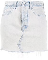 T By Alexander Wang Shorts denim con effetto schiarito - Blu