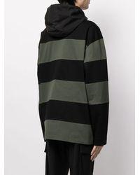 Juun.J Sudadera con capucha y estampado de rayas - Negro