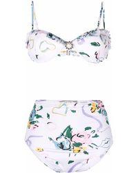 Alessandra Rich Bikini con estampado floral - Blanco
