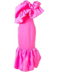 Solace London ワンショルダー ラッフルトリム ドレス - ピンク