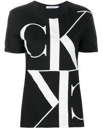 Calvin Klein T-shirt Met Logoprint - Zwart