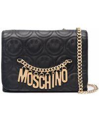 Moschino キルティング ロゴ ショルダーバッグ - ブラック