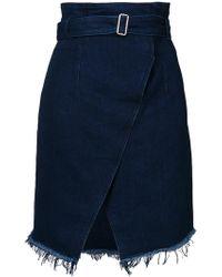Officine Generale Belted Denim Skirt - Blue