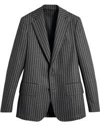Burberry - Pinstriped Wool Blend Twill Tailored Jacket - Lyst