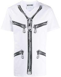 Moschino Zip Print Short-sleeved T-shirt - White