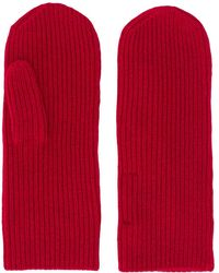 Isabel Marant Ribbed Knitted Mitts - Red