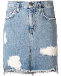 Current/Elliott - Ripped Denim Mini Skirt - Lyst