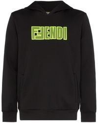 Fendi メッシュ ロゴ パーカー - ブラック