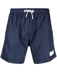 Dondup Logo-patch Drawstring Swim Shorts - Blue