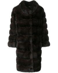 Cara Mila Sabina Sable Fur Coat - Brown