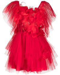 Loulou Floral Appliqué Tulle Mini Dress - Red