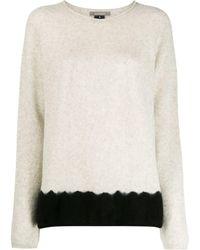 Suzusan Two-tone Cashmere Sweater - Gray