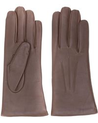 N.Peal Cashmere Short Leather Gloves - Brown