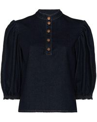 See By Chloé Puff-sleeve Buttoned Top - Blue