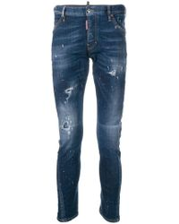 DSquared² - Distressed Slim-fit Jeans - Lyst
