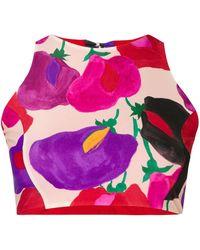 La DoubleJ Top de bikini con cuello halter - Rojo