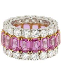 Bayco サファイア&ダイヤモンド リング プラチナ - ピンク