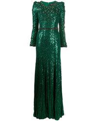 Jenny Packham Платье С Кристаллами И Пайетками - Зеленый
