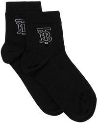 Burberry モノグラム靴下 - ブラック