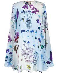 Stella McCartney Robe courte ample à fleurs - Bleu