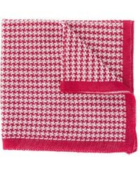 Canali Houndstooth Knitted Scarf - Red