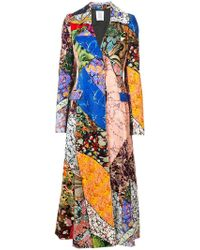 Rosie Assoulin Long Patchwork Coat - Blue
