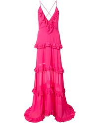 Nicole Miller Tiered Ruffle Gown - Pink