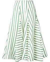 Rosie Assoulin Расклешенная Юбка В Полоску - Зеленый